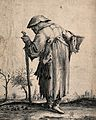 An old beggar-man leaning on a stick and carrying a basket i Wellcome V0039986.jpg