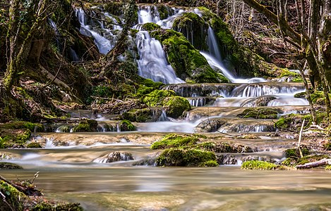 Long exposure shot at the Toberia Cascades. Andoin, Álava, Basque Country, Spain