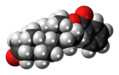 Androstanolone benzoate molecule spacefill.png