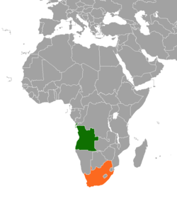 Map indicating locations of Angola and South Africa