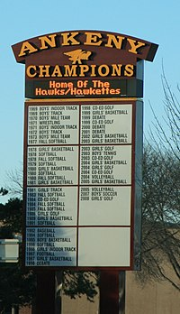 Sign outside Northview Middle School (formerly the Ankeny High School building) listing athletic achievements