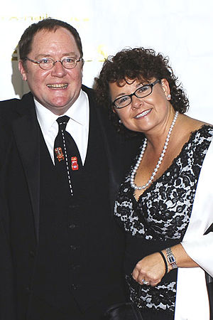 John Lasseter - John Lasseter with his wife Nancy Lasseter at the 2006 Annie Awards red carpet at the Alex Theatre in Glendale, California.