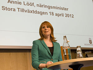 "Annie Lööf - Lööf at the ""Stora Tillväxtdagen"" (Major Growth Day) in April 2012"