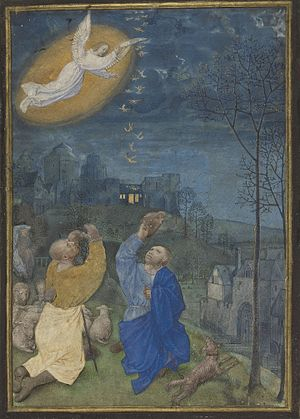 Annunciation to the shepherds - This late 15th-century Flemish miniature shows the Annunciation to the shepherds.