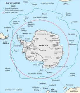 Antarctic region around the Earths South Pole