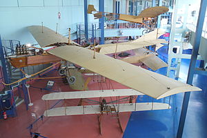 Hubert Latham - Replicas of two of the aircraft that competed for the Daily Mail Channel-crossing prize: the Antoinette VII (centre) and the Blériot XI (top)