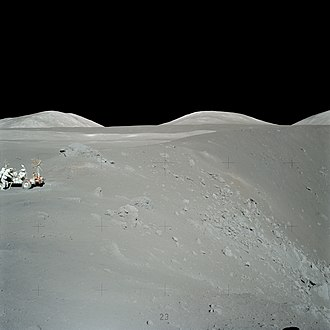 Geology of the Moon - Exploring Shorty Crater during the Apollo 17 mission to the Moon. This was the only Apollo mission to include a geologist (Harrison Schmitt). NASA photo