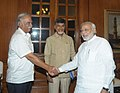 Ashok Gajapathi Raju Pusapati calling on the Prime Minister, Shri Narendra Modi, in New Delhi on May 30, 2014. The Andhra Pradesh Chief Minister-designate, Shri N. Chandrababu Naidu is also seen.jpg