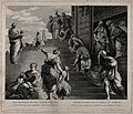 At her presentation to Zacharias, the Virgin Mary ascends th Wellcome V0034488.jpg