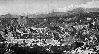 Lucky Baldwin - Indian attack on the Baldwin Party near Salt Lake City in 1853, as pictured by the artist Cross, from Lucky Baldwin's description. Image from C.B. Glasscock's 1933 biography Lucky Baldwin: The Story of an Unconventional Success.