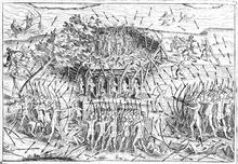 Illustration d'une attaque d'un fort Iroquois