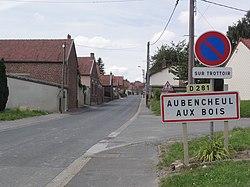 Aubencheul-aux-Bois (Aisne) city limit sign.JPG