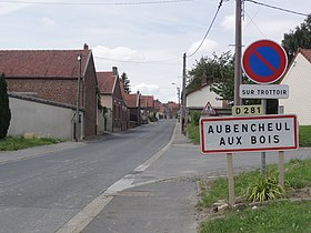 Aubencheul-aux-Bois (Aisne) city limit sign.JPG