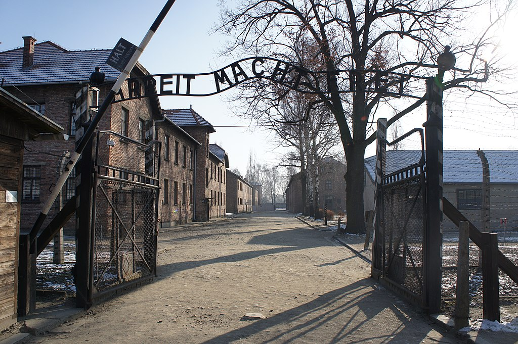 English the main entrance to the german death camp auschwitz i near