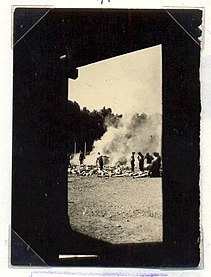 <i>Sonderkommando</i> photographs four photographs taken secretly in August 1944 inside the Auschwitz concentration camp in Nazi-occupied Poland