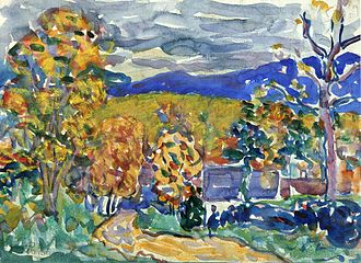 Autumn in New England, watercolor, Maurice Prendergast. C. 1910-1913 Autumn in New England Maurice Prendergast.jpeg