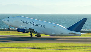 Boeing Dreamlifter - The second 747 LCF, N780BA, lifts off from Chubu Centrair International Airport near Nagoya, Japan in 2010