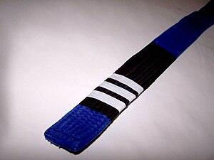 Brazilian jiu-jitsu ranking system - A blue belt with three stripes.
