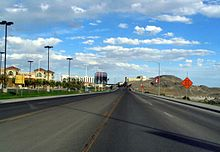 Five-lane asphalt roadway