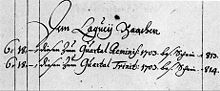 """Verbuchung der Gehaltszahlungen in Weimar: """"Dem Laqueÿ Baachen"""" (Quelle: Wikimedia)"""