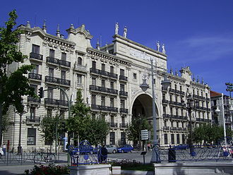 Santander, Spain - Building of Bank of Santander, where it originated and where it has its registered office.