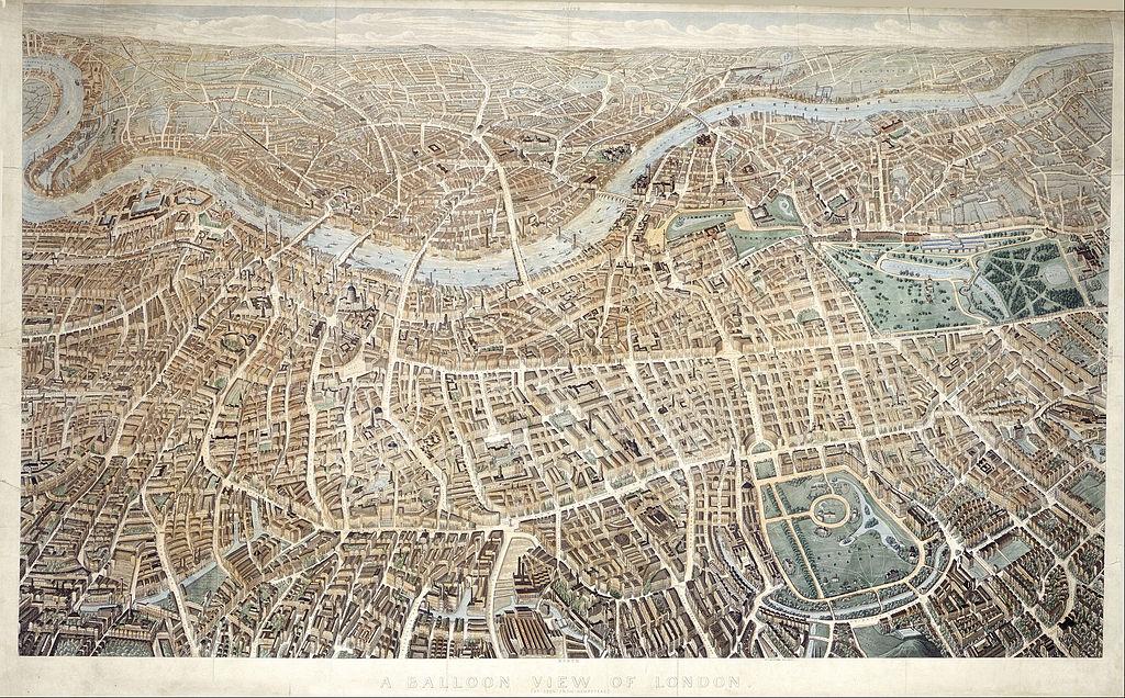 Londres vue depuis un ballon à Hampstead soit une vue orientée vers le sud (1851).
