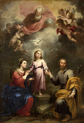 "Incarnation (Christianity) - The ""Heavenly Trinity"" joined to the ""Earthly Trinity"" through the incarnation of the Son, by Murillo, c. 1677"