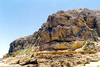 Barwon Heads, Victoria - The face of the bluff on the southern head.