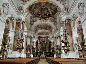 Rococo - The Rococo Basilica at Ottobeuren (Bavaria): architectural spaces flow together and swarm with life.