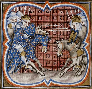 Darstellung des Reiterkampfes zwischen König Philipp II. Augustus und Kaiser Otto IV. in Bouvines. Spätmittelalterliche Miniatur aus den Grandes Chroniques de France (Paris Bibliothèque nationale de France, Ms. fr. 2813, fol. 253v).