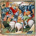 Battle of Crécy - Grandes Chroniques de France (c.1415), f.152v - BL Cotton MS Nero E II.jpg