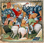 A colourful and stylised picture of late-Medieval cavalry battle