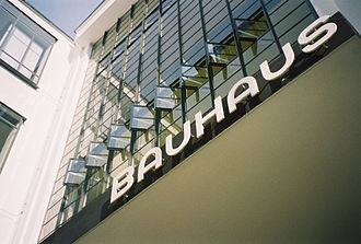 Bauhaus - Typography by Herbert Bayer above the entrance to the workshop block of the Bauhaus, Dessau, 2005