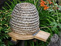 Bee Skep, stand and landing board, Skansen, Stockholm.jpg