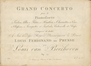 Piano Concerto No. 3 (Beethoven) - Title page of the first edition