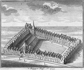 Begijnhof Chapel, Amsterdam - Situation sketch of the Beguinage ca.1544, historical engraving from 1729, unknown artist