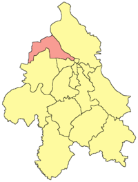Location of the municipality of Zemun within Belgrade