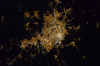 Greater Belo Horizonte - Satellite image of Belo Horizonte and greater area by night