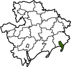 Vị trí của huyện Berdyansk trong tỉnh Zaporizhia