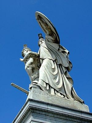 Athena protects the young hero (Der unter dem Schutze Pallas Athenes zum Kampf ausfallende Krieger) by Gustav Blaeser 1854