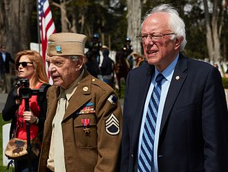 Political positions of Bernie Sanders - Sanders during the Memorial Day Ceremony 2016 in the Presidio of San Francisco.