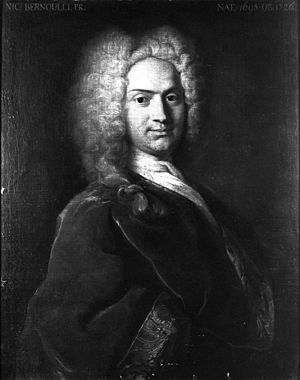 Nicolaus II Bernoulli - Nicolaus II Bernoulli, portrait by Johann Rudolf Huber (1723).