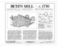 Betz's Mill, Bausch Road on Switzer Creek, 1.5 miles southeast of Lynnville, Lynnville, Lehigh County, PA HAER PA,39-LYNVI.V,1- (sheet 1 of 9).png