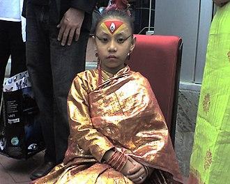 Kumari (goddess) - Sajani Shakya, a former Kumari of Bhaktapur, Nepal, during her June 2007 visit to the United States to the Film Festival Silverdocs.