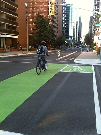 Cycle track - Image: Bicycle lanes in intersection ottawa 2011