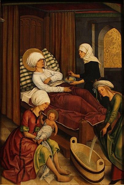 Mester for Pfullendorf-alteret: Marias fødsel