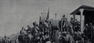 Paulinus II of Aquileia - Paulinus II of Aquilea blessing the Friulian-Slavic army before its campaign against the Avars. Depiction from the Aquileia Cathedral.