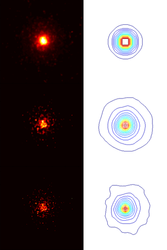 Blind deconvolution - Top left image: NGC224 by Hubble Space Telescope. Top right contour: best fit of the point spread function (PSF) (a priori). Middle left image: Deconvolution by maximum a posteriori estimation (MAP), the 2nd iteration. Middle right contour: Estimate of the PSF by MAP, the 2nd iteration. Bottom left image: Deconvolution by MAP, the final result. Bottom right contour: Estimate of the PSF by MAP, the final result.