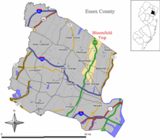 Map of Bloomfield Township in Essex County. Inset: Location of Essex County highlighted in the State of New Jersey.
