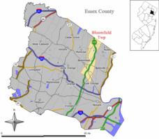 Mapo de Bloomfield Urbeto en Kantono Essex. Enmeti: Loko de Kantono Essex elstarigita en la Ŝtato de Nov-Ĵerzejo.
